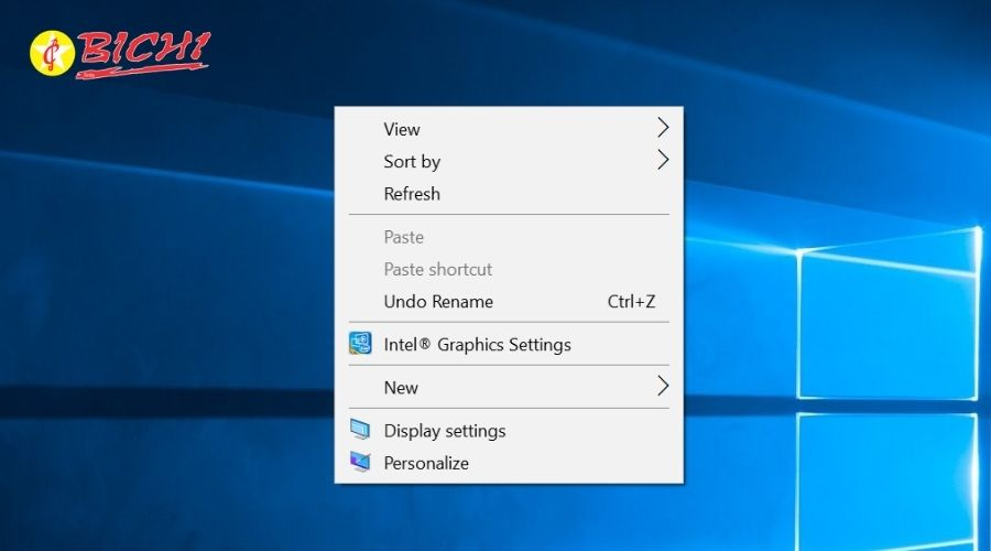 sử dụng chuột phải trên giao diện desktop